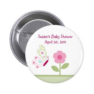 Bella Butterfly Flower Button/Pins 6 Cm Round Badge