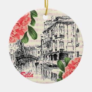Bella Italy Peony Round Ceramic Decoration