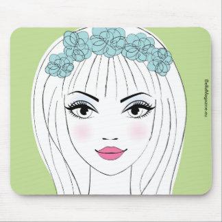 Bella Magazine Green Illustrated Woman Mousepad