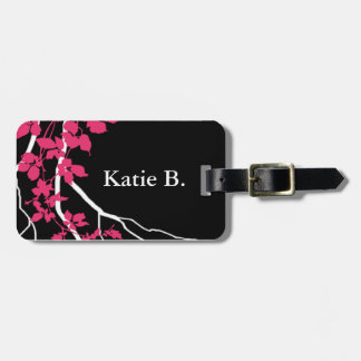 Bella Swirling Vines Cherry Blossom black fuchsia Luggage Tag