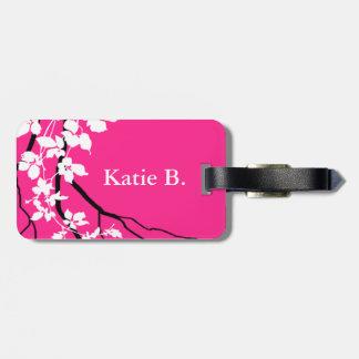 Bella Swirling Vines Cherry Blossom | fuchsia Luggage Tag