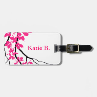 Bella Swirling Vines Cherry Blossom white fuchsia Luggage Tag