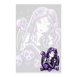 """Belladonna"" Gothic Purple Skull Faerie Stationery"