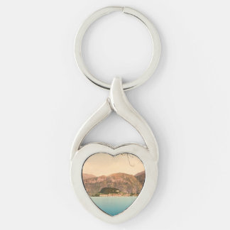 Bellagio III, Lake Como, Lombardy, Italy Silver-Colored Twisted Heart Key Ring