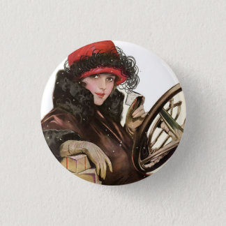 Belle, a vintage lady Christmas shopping 3 Cm Round Badge