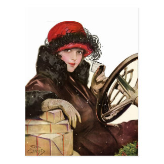 Belle, a vintage lady Christmas shopping Postcard