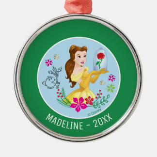 Belle   Belle Holding Glass Rose Add Your Name Christmas Ornament