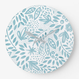 Belle Blue Floral Watercolour Wall Clock