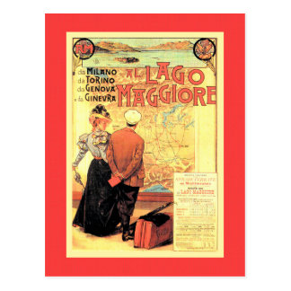 Belle époque 1899 Italian Railway travel poster Postcard