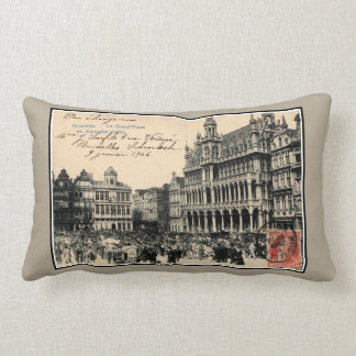 Belle epoque Bruxelles Grand' Place birds' market Lumbar Cushion