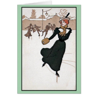 Belle Epoque women's fashion ice skating vintage Card