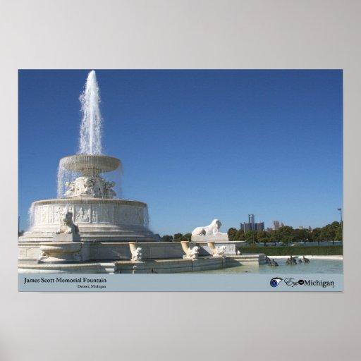 Belle Isle Fountain - Detroit, MI Poster