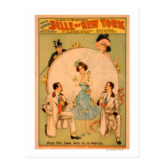 """Belle of New York"" Musical Theatre Poster Postcard"