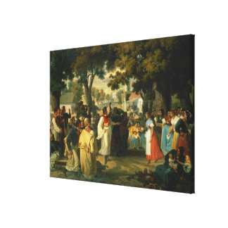 Belle of the Village is asked for a Dance Canvas Print