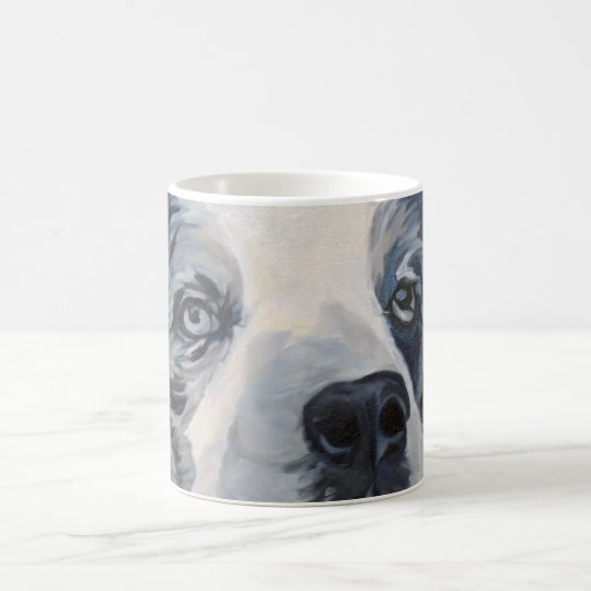 Belle the Blue Merle Border Collie Portrait Mug