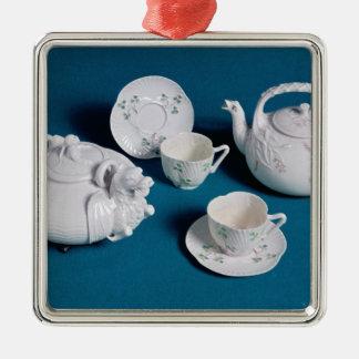 Belleek tea service christmas ornament