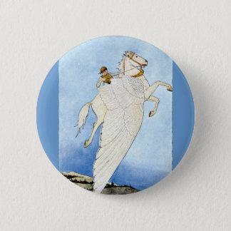 Bellerophon and Pegasus 6 Cm Round Badge
