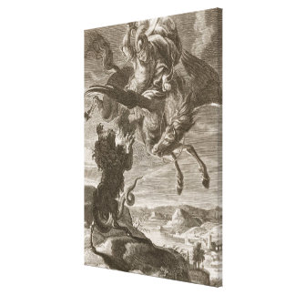 Bellerophon Fights the Chimaera 1731 engraving Canvas Print