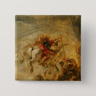 Bellerophon Riding Pegasus Fighting the Chimaera 15 Cm Square Badge