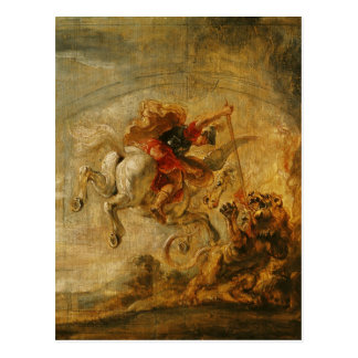 Bellerophon Riding Pegasus Fighting the Chimaera Postcard