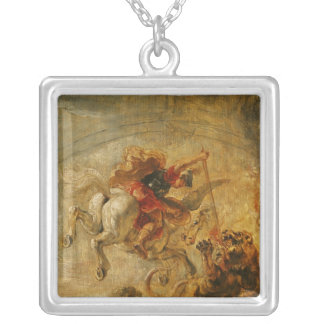 Bellerophon Riding Pegasus Fighting the Chimaera Silver Plated Necklace