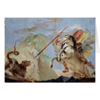 Bellerophon, riding Pegasus, slaying the Chimaera, Card