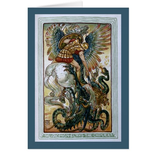 Bellerophon slays the Chimaera Greeting Card