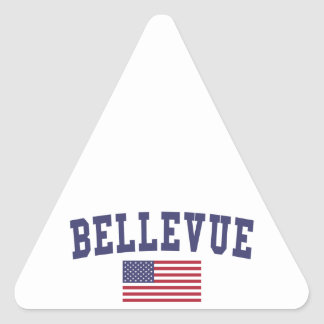 Bellevue NE US Flag Triangle Sticker