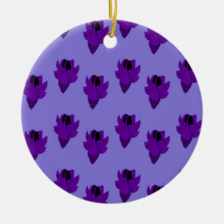 Bellflower purple round ceramic decoration
