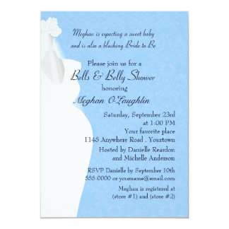 Bells and Belly Baby and Bridal Shower 13 Cm X 18 Cm Invitation Card