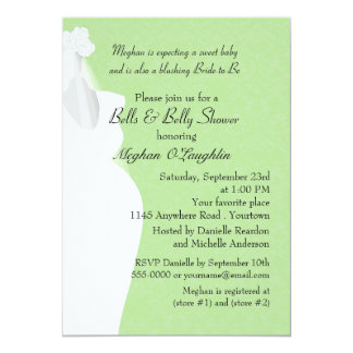 Bells and Belly Bridal and Baby Shower 13 Cm X 18 Cm Invitation Card