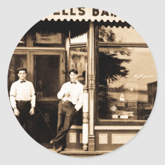 Bell's Barber Shop Vintage Americana Classic Round Sticker