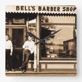 Bell's Barber Shop Vintage Americana Square Wall Clock