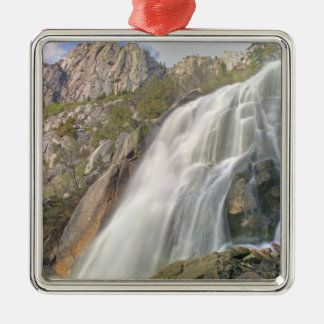 Bells Canyon Waterfall, Lone Peak Wilderness, Silver-Colored Square Decoration