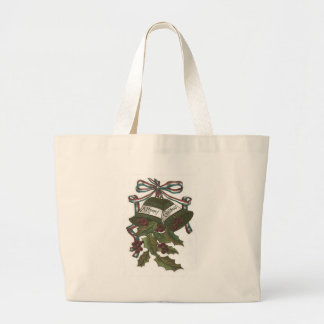 Bells Holly Red White Blue Ribbon Patriotic Jumbo Tote Bag
