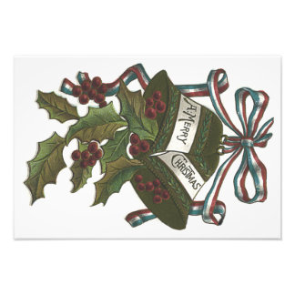 Bells Holly Red White Blue Ribbon Patriotic Photograph