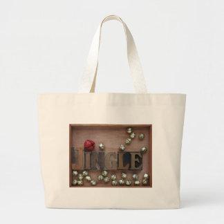 bells with the word jingle jumbo tote bag