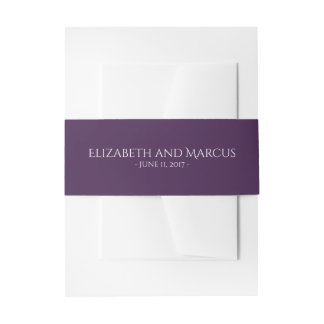 Belly Band Purple for Floral Frame Collection Invitation Belly Band