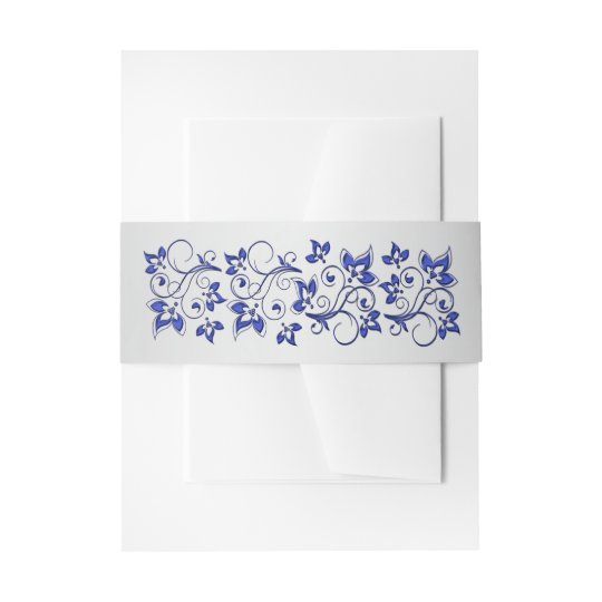 Belly Band   Royal Blue, Silver Grey, Floral