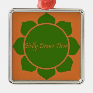 Belly Dance Diva Silver-Colored Square Decoration