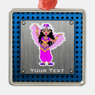 Belly Dancer; Brushed Metal-look Silver-Colored Square Decoration