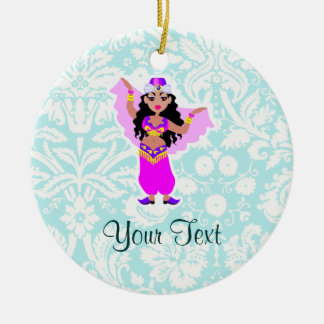 Belly Dancer; Cute Double-Sided Ceramic Round Christmas Ornament