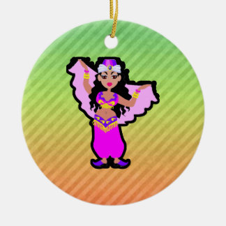 Belly Dancer Double-Sided Ceramic Round Christmas Ornament