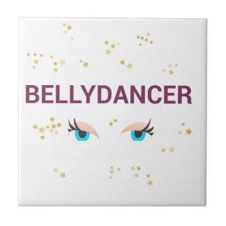 Belly dancer eyes small square tile