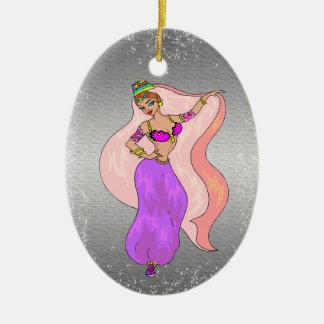 Belly Dancer Illustration - Oval shaped Ornament