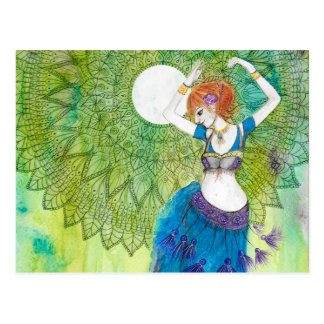 Belly Dancer in Blue Postcard