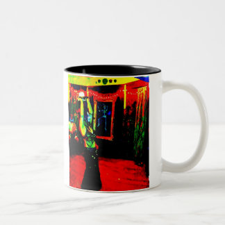 Belly Dancer with Fire Two-Tone Coffee Mug