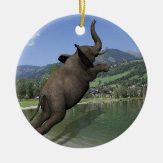 Belly Flop Elephant Round Ceramic Decoration