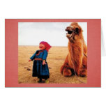 Belly-Laugh Child & Camel Stationery Note Card