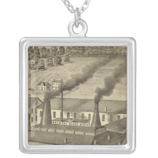 Belmont Glass Works, Bellaire, Ohio Silver Plated Necklace